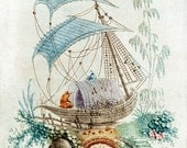 antique chinese wallpaper illustration sailboat and flowers digital download