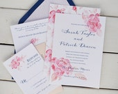 Watercolor Peony Wedding Invitations, Pink Peach and Blue Wedding, Floral Spring Invitation - Sample