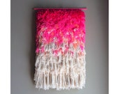 MADE TO ORDER - Woven wall hanging / Furry Electric Cherry Fields //  Handwoven Tapestry Weaving Fiber Textile Wall Art Home Decor Jujujust