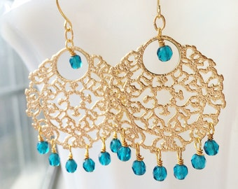 Bollywood Gold Chandelier Bridal Earrings Filigree Turquoise by MinouBazaar