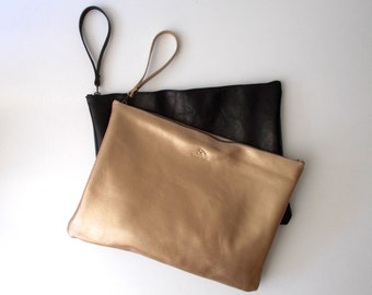 15% OFF Gold Oversize leather clutch