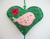 Felt Heart Wall Hanging Green Ornament with Hand Embroidered Felt Bird Flower and Swirls Handsewn
