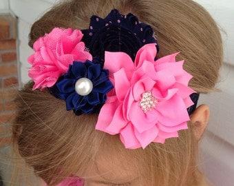 pink elastic headband, flower headband, navy elastic headband, baby headband, girls hair accessories, girl birthday party favor gift for her