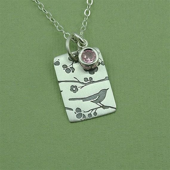 Cherry Blossom Jewelry - bird necklace, sterling silver handmade jewelry