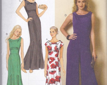 Butterick Pattern B6130 Dress in 3 Views or Wide Legged Jumpsuit with Bias Collar and Inset Waist Misses Sizes 6 - 14