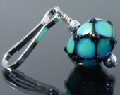 Zipper Pull, blue green and black, geometric, zipper pulls for purses, zipper pull charm, beaded zipper pull, decorative pull, artisan made