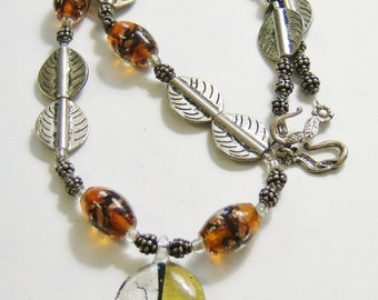 vintage silver tone and brown metal and bead single strand necklace 14IN