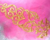 """GB161 Gold Metallic Embroidered Applique Iron On Patch 11""""  (GB161-gl)"""