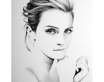 Emma Watson Minimalism Original Pencil Drawing Fine Art Portrait