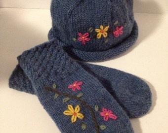 Mittens Hat Wool Knit - Denim Wildflower