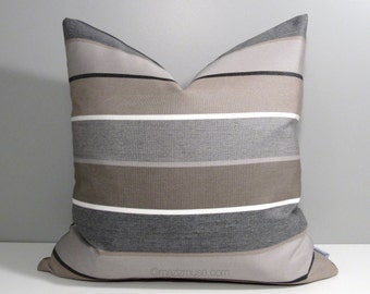 Brown & Grey Outdoor Pillow Cover, Decorative Striped Throw Pillow Case, Taupe Stripes, Modern Cushion Cover, Masculine Gray Cocoa Sunbrella