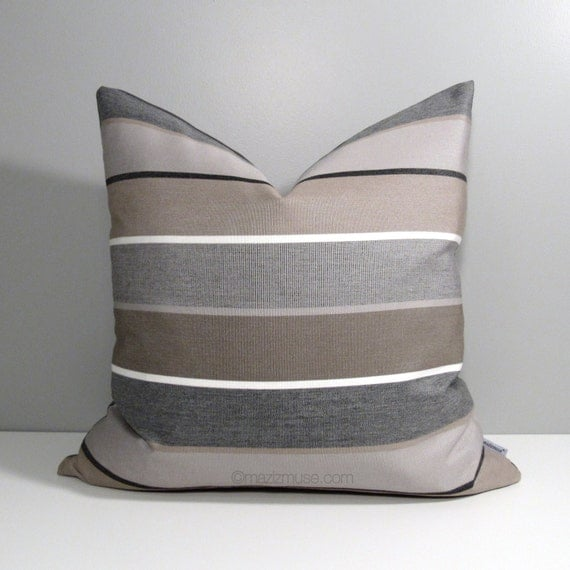 Grey Sofa Pillows: Brown & Grey Outdoor Pillow Cover Decorative Striped By