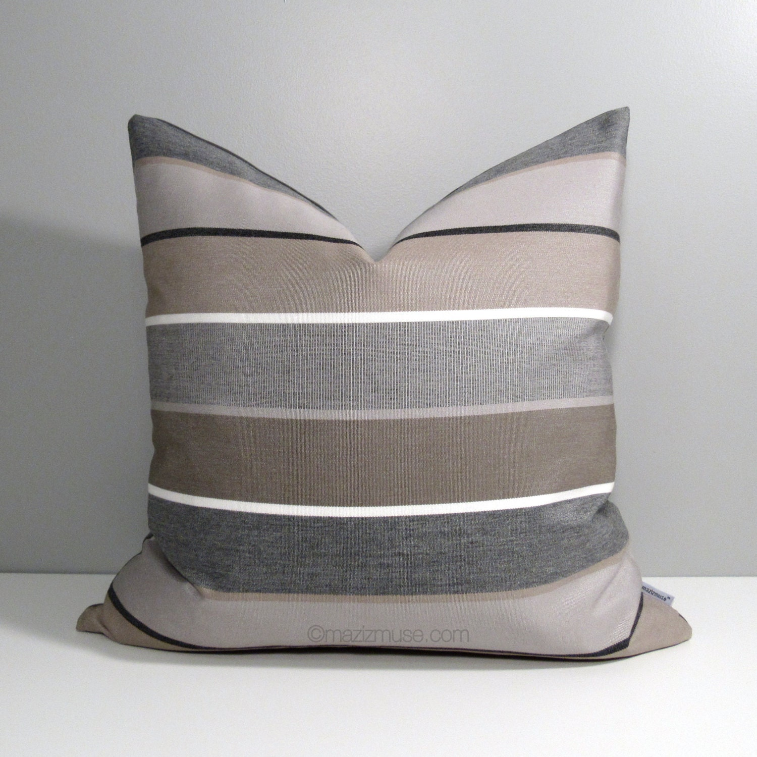 brown grey striped outdoor pillow cover decorative pillow. Black Bedroom Furniture Sets. Home Design Ideas