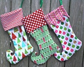READY TO SHIP Whimsical Christmas Elf Stocking-Christmas Stocking-Elf Toe Christmas Stocking