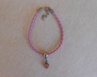 Pink Crystal Pink Braided Leather Bracelet