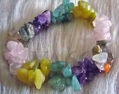 Elastic Stretch Mixed Gemstone Bracelet Bangle Pink Purple Colors Amethyst Rose Quartz Fits All Sizes Wedding, Bridal, Bridesmaid, Mother