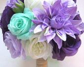 Reserved listing Wedding Silk flower Bouquet Bridal PURPLE LAVENDER Dark MINT white 1 piece package Arrangements  RosesandDreams