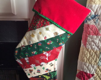 Christmas Stocking - Strip Quilted in Holiday Fabric with a Red Velevt Cuff