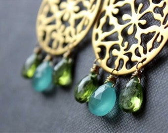 Aqua Blue Chalcedony and Peridot Chandelier Earrings