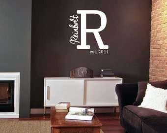 Family Name Monogram Est. Year - Personalized Custom Entryway Wall Decals