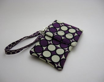 Wristlet Cell Phone Case, iPod Case, Camera Case, Padded Gadget Case, Purple Circles.  Ready to ship