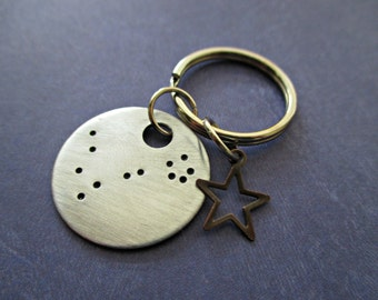 pisces constellation - hand stamped zodiac key chain with bronze star charm