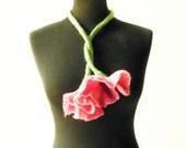 SALE felt flower fiber pink summer necklace lariat