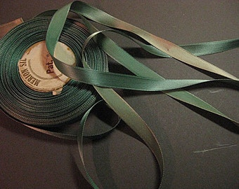 Vintage 30s Rayon satin ribbon Faded ribbon teal green ribbon blue green ribbon narrow ribbon 3/8 inch