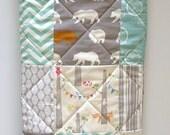 Baby Quilt-Modern Organic birch Fabric-Rustic Baby Boy Bedding-Gray-Grey-Aqua-Woodland Animal-Elk-Owl-Bear-Deer Baby Blanket