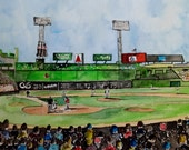 "Original Watercolor Painting- ""Fenway Park""  Boston Red Sox Art"