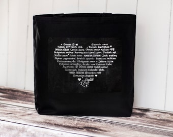LOVE Languages Tote Bag - Canvas Bag - Carryall Tote - Enchanted Darkness - Enchanted Collection