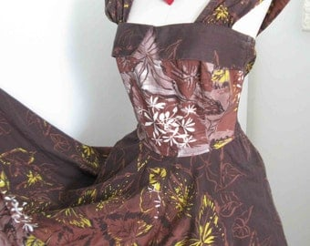 Sale Tiki Hawaiian Vintage 1950's Floral Print Sun Dress Hawaii Tropical