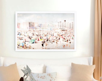 """Large Art Print for Modern Home // Coney Island Brooklyn // Beach Photography Landscape // Extra large beach prints - """"Peeps Dips"""""""