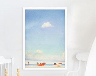 Large Beach Photography, Ocean, Beach Photography, Large Scale Prints, Beach decor, Playa del Carmen, Mexico Print