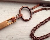 Unisex Copper Modern Bar Chain Necklace OOAK
