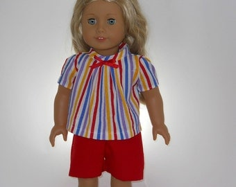 18 inch doll clothes, 2 piece outfit, Yellow Blue Red Lavender Stripe Top with Red Walking Shorts, 04-0149