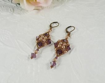 Woven Dangle Earrings Amethyst Swarovski Crystal Vintage Inspired