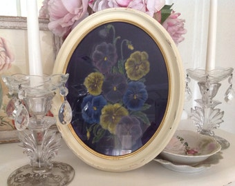 Velvet Hand Painted Picture ~ Hand Painted Pansies ~  Pansies Picture  Oval Cream Frame ~ Shabby Chic ~ Gift for Mom, Grandma ~ Wall Hanging