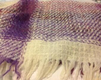 Avoca Handweavers Shawl ~ Warm Wool Throw or Shawl ~Purple Cream Plaid ~  Gift for Her ~  Vintage Warm  Scarfs ~ Great Gift Idea