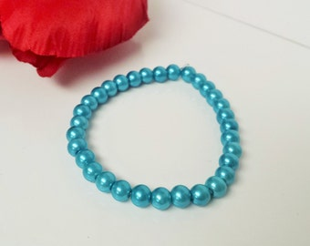 Turquoise Blue 6mm Glass Pearl Bracelet for Bridesmaid, Flower Girl or Prom