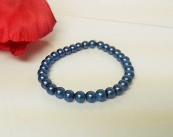 Steel Blue 6mm Glass Pearl Bracelet for Bridesmaid, Flower Girl or Prom