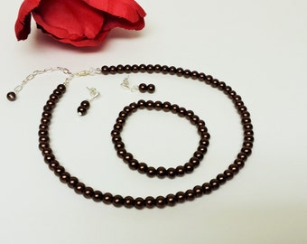 Dark Chocolate Pearl Necklace Set - Bridesmaid Jewelry Set - Flower Girl Pearl Gift Set - Bridal Set - Prom Jewelry - Classic 3 Piece Set