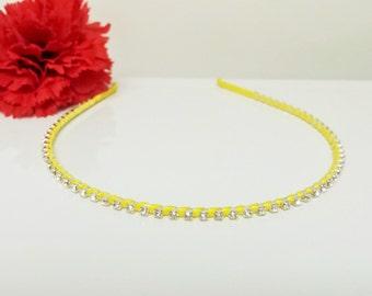 Bright Yellow Satin Ribbon Enhanced Rhinestone Bridal Headband for Bridesmaid, Prom, Flower Girl or Wedding Party