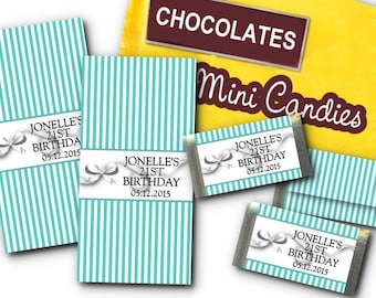 36 Mini Candy Wrappers, Teal Aqua Blue & Bows Design, Favors, Wedding, Bridal Shower, Baby Shower, Birthday