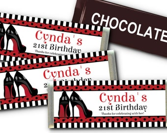 12 Candy Bar Wrappers, Black & Red Stiletto High Heels, Bachelorette Party, Bridal Shower, Lingerie Shower, Birthday Party