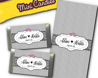 Set of 36 Mini Candy Wrappers, Favors, Grey Stripes & Hearts, Roses, Wedding, Bridal Shower, Baby Shower, Birthday Party