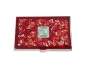 Moorish Square Medallion Inlaid in Hand Painted Ox Blood Swirl Design Metal Wallet Personalized and Custom Color Options