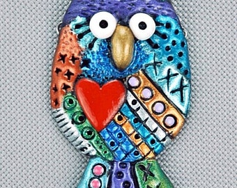 Hand Sculpted Owl Focal or Brooch by Critter CRaft