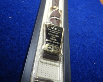 Timex Brown Leather Watch Band-New Still In Holder