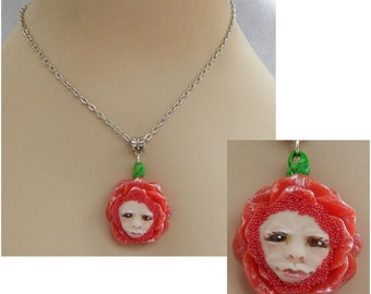 Rose Red Fairy Pendant Necklace Jewelry Handmade NEW Polymer Clay NEW Fairies Mixed Media Chain Silver